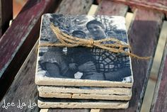 Photo coasters using tiles and modge podge - make for Grandparent gifts