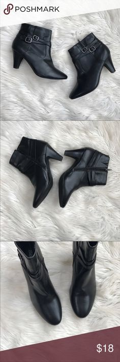 "Bass Ankle Booties Bass Ankle Booties In excellent condition. Zip up closure. Buckle detailing with silver accents. Style name - Atayna. Man-made materials. Size 9. Heel height - 3.5"". No trades, offers welcome. Bass Shoes Ankle Boots & Booties"
