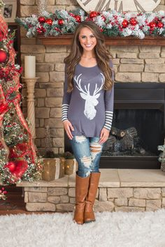 A Winter Dream Reindeer Tee Charcoal