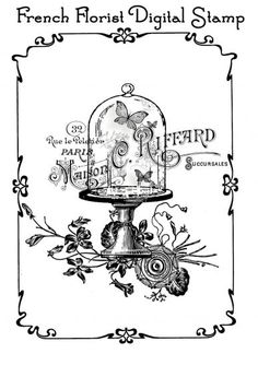 Crafty Card Making Instant Downloads - French Florist Digital Stamp (Powered by CubeCart)