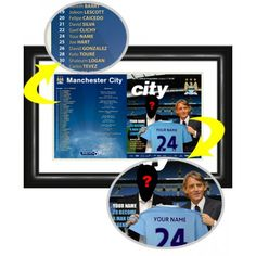 Man City Personalised Matchday Programme    Your name and photo alongside Mancini as you Sign for Manchester City.  This is our flagship product and has received some fabulous reviews. We reproduce the official Manchester City Match Day Programme cover putting your name in the squad list and onto the shirt held by Roberto Mancini. Our photo manipulation experts merge your face onto the body of the player accompanying Roberto Mancini. Framed and mounted in a stylish contemporary black frame. Kolo Toure, David Gonzalez, Manchester City, Gifts For Boys, Photo Manipulation, Names, Day, Squad, Football