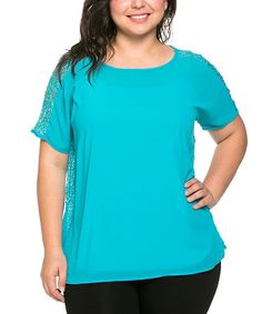 Another great find on #zulily! Teal Textured-Back Scoop Neck Top - Plus by Essential Collection #zulilyfinds