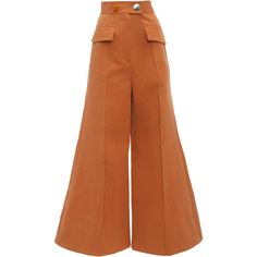 ROKSANDA     Hasani Wide Leg Trousers ($1,515) ❤ liked on Polyvore featuring pants, brown, high waisted wide leg trousers, high-waist trousers, wide-leg pants, high-waisted trousers and high waisted wide leg pants