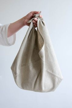 Large linen produce bag, perfect for plastic-free greens, kale, and more | Zero waste grocery shopping tool