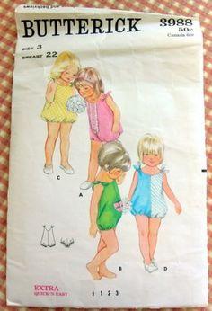 Little Girl's Romper Butterick 3988 Vintage 60s Sewing Pattern