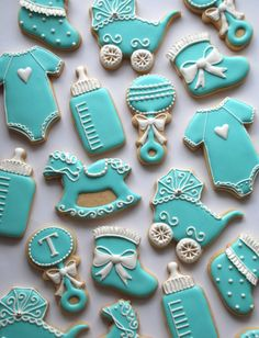 Teal and white Decorated Baby Cookies with von thesweetesttiers