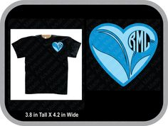 Swimming heart monogram custom shirt, shown with round monogram on pocket area of shirt - pinned by pin4etsy.com
