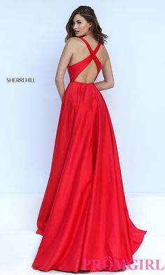 Image of long low v-neck sleeveless dress Back Image