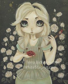 Alice in wonderland art print  fairy lowbrow fantasy  by WhiteStag