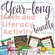 Year-long Math and Literacy Activity Bundle
