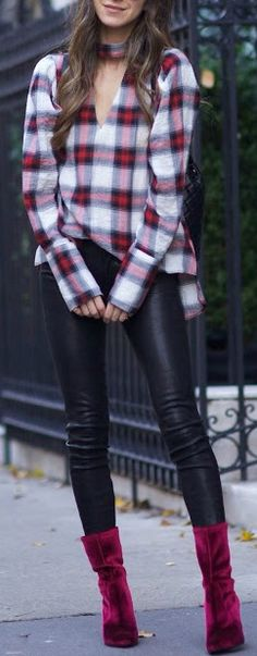 Plaid top + leather pants.