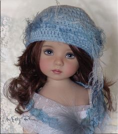 MISTY BLUE Hat 4Effner Little Darling, Mini Fe, Ellowyne, Prudence, BJD by Linda
