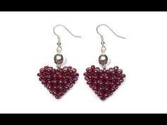 Repeat youtube video Tutorial: Beaded ❤ HEART ❤ Earrings / МК: Серьги из бисера СЕРДЕЧКИ