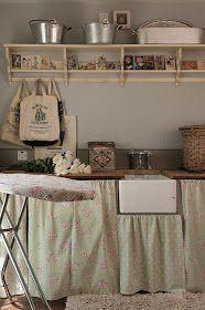 Shabby chic laundry room.....LOVE it...love the shelves
