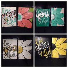 2 piece flower/be-you-tiful acrlic painting with gloss finish on reclaimed wood 15X11 on Etsy, $70.00