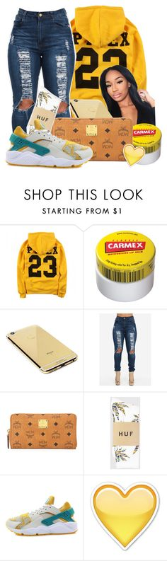 """Lemonade"" by baby-marii ❤ liked on Polyvore featuring Carmex, Goldgenie, MCM, HUF and NIKE"