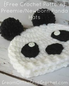 Cream Of The Crop Crochet ~ Preemie/Newborn Panda Hats {Free Crochet Pattern}