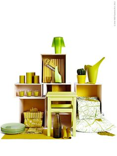 New seasonal colours from IKEA - Yellow green, lemon lime - time for a splash of colour for vases, candles, plant pots, textiles and more. Ikea Yellow, Ikea Stool, Ikea Home, Gold Aesthetic, Visual Display, Garden Features, Merchandising Displays, Creative Advertising, Season Colors