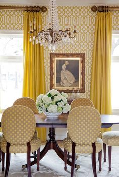 Imperial Trellis walls, canary yellow draperies, white hydrangeas, chandelier