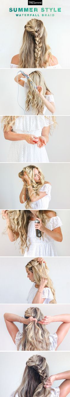 Beachy waves and waterfall braids make a dreamy pair for sunny summer days. Cara McLeay of A Fashion Love Affair walks us through this beautiful boho look using Tresemmé Perfectly (un)Done Sea Foam and Ultra Brushable Hairspray.