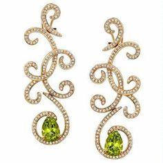 Natalie K Diamond and Peridot 18k Rose Gold Gotta Have Dangle Earrings ~ http://www.caprijewelersaz.com/Natalie-K/38800001/EN