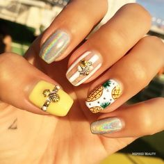 Modern Nails Design that You Will Love - Inspired Beauty Cute Acrylic Nails, Cute Nails, Gold Nails, Pink Nails, Hair And Nails, My Nails, Talon Nails, Pineapple Nails, Modern Nails