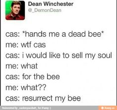 Is it sad I can see Cas doing this? Lol <-- lol! I could see crazy!Cas doing this perhaps.