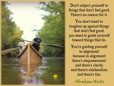 Don't subject yourself to things that don't feel good. There's no reason for it. You don't want to toughen up against things that don't feel good, you want to guide yourself toward things that do. You're guiding yourself to alignment because in alignment there's empowerment and there's clarity and there's exhilaration and there's fun.
