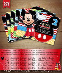 SALE - HUGE SELECTION Chevron Mickey Mouse Birthday Invitation, Clubhouse Mickey, Chevron Mickey Invitation, Mickey Printable Invitation