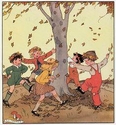 Menthe e tGrenadine classic children shoes love this vintage illustration by Rie Cramer . Images Vintage, Vintage Pictures, Vintage Cards, Autumn Illustration, Children's Book Illustration, Autumn Scenes, Vintage Children, Retro, Graphic