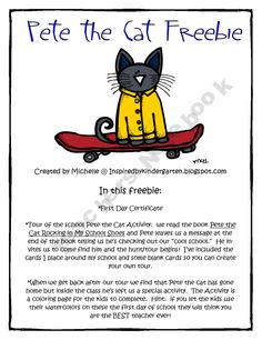 """Pete the Cat Freebie; consider as an alternative to The Kissing Hand """"hunt"""" for Chester"""