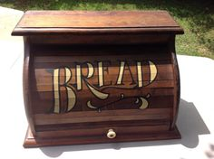 Vintage Wood Roll Top Bread Box With Lots Of Detail