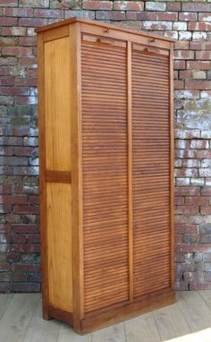 Industrial Double Tambour French Oak Cabinet