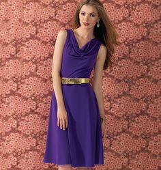 A-lined, pullover dresses have draped front neckline and back neckline facing. View A armholes are finished with facings. View B has long sle...