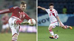 Thomas Delaney scorede mandag hattrick for det danske landshold. Nicklas Bendtner (tv) har også scoret hattrick for Danmark,