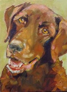 """Daily Paintworks - """"Wheres my ball?"""" - Original Fine Art for Sale - © Jean Delaney"""
