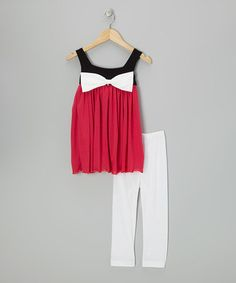 Take a look at this Burgundy Bow Tunic & White Leggings - Infant, Toddler & Girls by Kid Fashion on #zulily today!