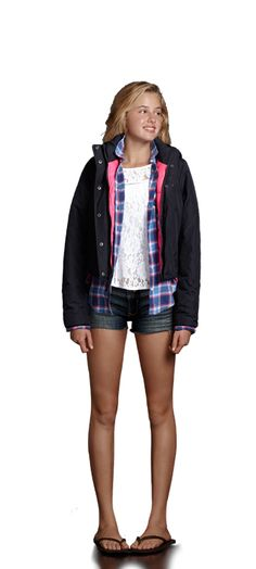 abercrombie  short with flanel shirt lace top and warm jacket without flip flops sooo cute
