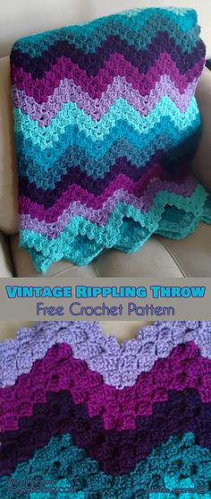 Vintage Rippling Throw Free Pattern Beautiful vintage rippling blocks! #freecrochetpatterns #crochetblanket