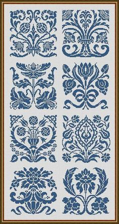of a whole Art Nouveau Motifs Flowers Samplers Monochrome Counted Cross Stitch/Filet Crochet Pattern PDF Cross Stitch Art, Cross Stitch Samplers, Cross Stitch Flowers, Counted Cross Stitch Patterns, Cross Stitch Designs, Cross Stitching, Cross Stitch Embroidery, Embroidery Patterns, Cross Stitch Numbers