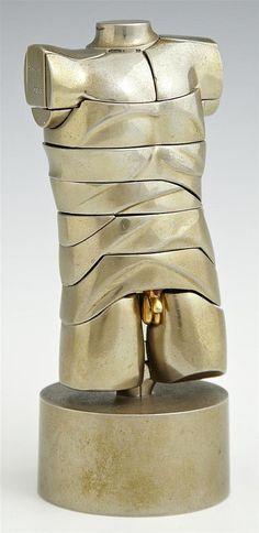 He's so unusual, ha. Miguel Berrocal Mini modernist 'David' Sculpture Puzzle, nickel plated , 1970 w/ illustrated instructions. Metal Puzzles, Metal Casting, 50 Shades, Dapper, Art Pieces, David, Bodysuit, Bronze, Club