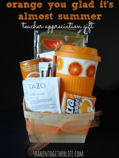 "Get your 'pun' on and put a smile on a teachers face with this DIY ""Orange you glad it's almost summer"" gift basket. Put together some orange, colored, summer goodies your teacher might like!"