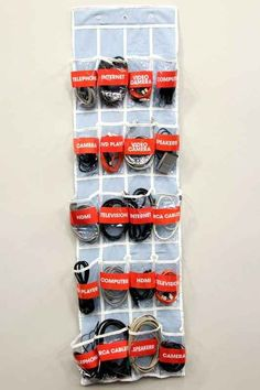 Got an array of extra wires and cables lying around in a heap? Label each pouch and keep them neat and tidy. 22 Insanely Simple Ways To Organize Your Whole Life Hanging Shoe Organizer, Cable Organizer, Shoes Organizer, Cable Storage, Cord Storage, Organizing Wires, Organizing Your Home, Organising, Studio Organization