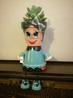 - Her Crochet Clay Pot Projects, Clay Pot Crafts, Diy Clay, Crafts To Do, Craft Projects, Arts And Crafts, Flower Pot Art, Clay Flower Pots, Flower Pot Crafts