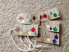 Cute Christmas tags . . . could use sequins, buttons, or other embellishments.