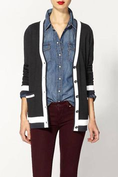 Add something extra with an old-fashioned cardigan, stolen from gramps