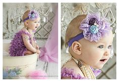 Lavender petti lace romper and headband SET petti by ThinkPinkBows, $28.90