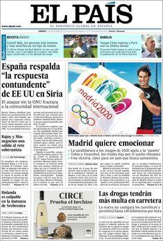 Los Titulares y Portadas de Noticias Destacadas Españolas del 7 de Septiembre de 2013 del Diario El País ¿Que le pareció esta Portada de este Diario Español?