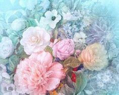Elegantný dámsky hodvábny šál s kvetmi v tyrkysovej farbe