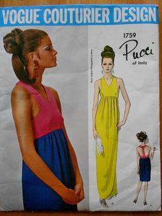 UNCUT VOGUE COUTURIER DESIGN PUCCI WOMENS DRESS PATTERN SZ 12